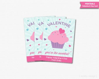Personalized Valentines Cards Classroom Cards Printable Cupcake Kids Valentines Printables Printable Valentines Cards Digital Gift Tag Favor