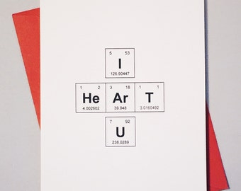 Periodic table of the elements i love you like you hey i heart u periodic table of the elements i heart u geek love card sentimental elements chemistry card for adorkables urtaz Images