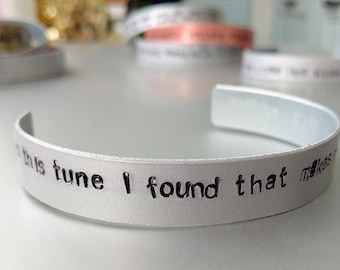 Arctic Monkeys, Alex Turner handstamped bracelet, bangle, jewellery, do I wanna know? This tune I found makes me think of you somehow