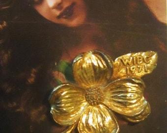 Vintage Flower Brooch Marked WIBC 1971 - BR-243 - Women's International Bowling Congress Brooch