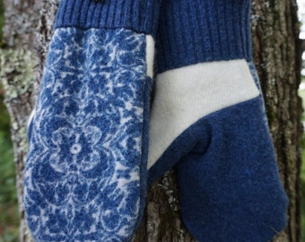 Blue and White Sweater Mittens