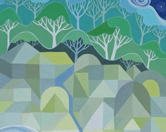 LARGE Festival art print, geometric art, camping, community, river, clouds, trees, starry night, silver linings