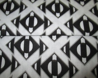 Abstract /motif cotton fabric, black cotton fabric / white