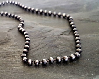 Sterling Silver Bead Ball Necklace, Oxidized Silver Sterling Bead Chain, Sterling Silver Jewelry, Modern Bohemian Layering Necklace