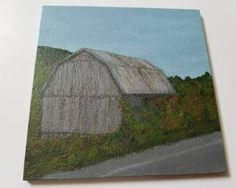 Barn in Newfield - acrylic painting on wood panel - orignal art