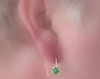 WEE WIRES/ New tiny wire earrings, tiny crystals, pierced/ Minimalist, petite