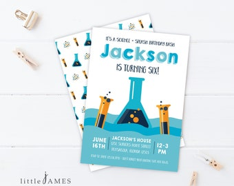 Mad Science Pool Party Invitation - Science and Splash / Mad Scientist Party / Pool Party / Science Party
