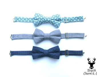 Boys Blue Bow Tie, Toddler Blue Bow Tie, Toddler Boys Formal Wear, Page Boy Outfit, Rustic Wedding Bow Tie, Ring Bearer Outfit,