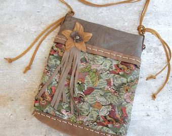 Brown leather bag, boho purse, handmade purse, small crossbody bag, flower bag, brocade fabric leather bag, unique purse, small leather bag