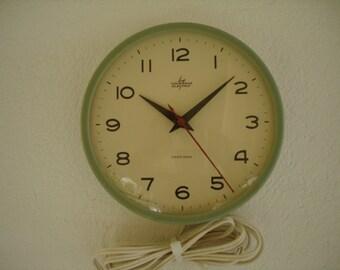 Vintage SWISS Wall Clock Light Green, Clock Analog, Electric Wall Clock, 50s Mid Century Wall Clock