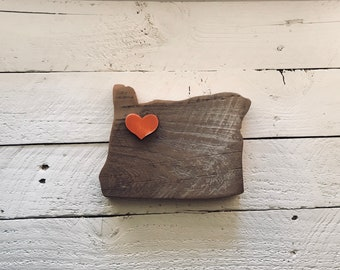 My Heart is in Oregon, Reclaimed Wood Cut Out, approx 5 x 7, Indoor Outdoor Wood Sign - Limited Qty