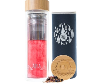 AIRA Tea Infuser Glass Bottle Tumbler – A Large Loose Leaf Tea Infuser With A Stainless Steel Strainer & Premium Glass Steeper Cup - 450ml