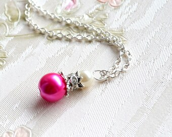 Fuchsia bridesmaid necklace Fuchsia pink Wedding jewelry Hot pink necklace Jewelry with rhinestones Hot pink Bridesmaid gift Fuchsia jewelry