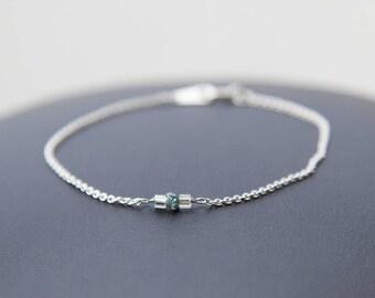 Rough Diamond Bracelet, April Birthstone, Rough Blue Diamond Bracelet, Minimalist Diamond Bracelet, Tiny Diamond Bracelet, Tiny Blue Diamond
