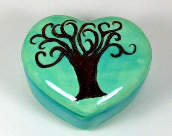 Heart Box with Tree - Handmade Ceramics