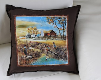 PHEASANT 40 x 40 on chocolate brown pillow cover
