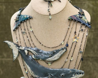 Galaxy Humpback whales Set, Necklace and fake gauge whale Earrings, Ocean Jewelry, Unique Mermaid gift