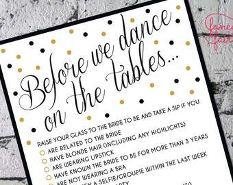 Bachelorette/Hens Party Game – Take a sip (gold)