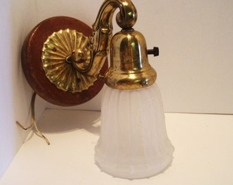 Vintage Wall Sconce Brass and Wood with Frosted Glass Shade