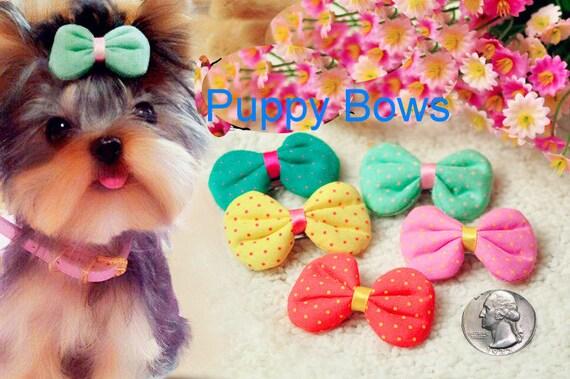 Puppy Bows ~ Puffy fabric polka dots dog hair bow pet clip or bands GREEN YELLOW CORAL pink  ~Usa seller (fb6)