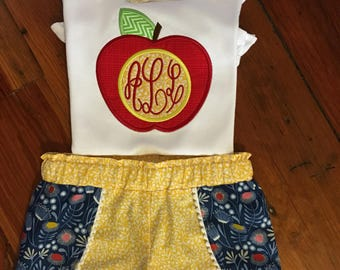 Back to School Applique Monogram Shirt & Ruffle Pants/Back to School Outfit/Applique Top and Ruffle Shorts/Double Ruffle Shorts