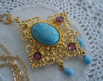 FINAL SALE Vintage Gold Turquoise Amethyst Aqua Pendant Pin Brooch Necklace Southwest Victorian
