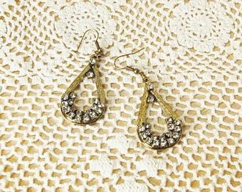 Rhinestone and Antiqued gold Earrings Dangle, Drop Hoop vintage look