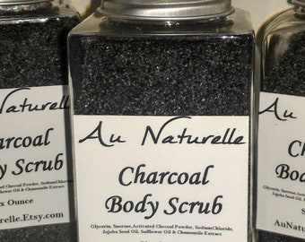 Charcoal Body Scrub     -  Six Ounce  -  All Natural Activated Charcoal Scrub  -  Natural