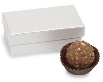 Double Truffle Boxes Pearl, 24 boxes, 2 Pc Box, candy box, white favor box