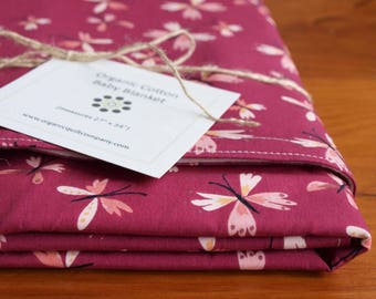 Butterflies Baby Blanket; Pretty Purple and Pink Receiving Blanket; For Baby Girl; Stroller Blanket; Handmade Baby Shower Gift; Crib Blanket