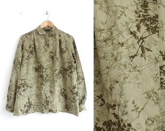 vintage floral blouse moss green 80s asian floral print top 1980s collared womens button down shirt size xl