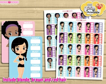 Chic Measurement Fullbox Tracker. Kawaii stickers for your life planner sidebar.