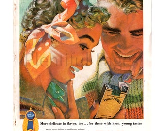1955 Philip Morris Cigarette Vintage Ad Illustration 1950s Couple Retro