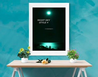 Colourful Wall Art ~ Original Photo, Photography Prints, Professional, Gifts, Presents ~ Moonlit Sea ~ Ready to hang Images ~Turquoise Sea