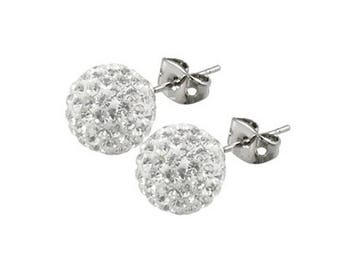 Pair 8mm /10mm Handmade Crystal Bead Pave Disco Ball  Silver Earrings Studs --White