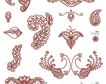Mehndi Ornaments (peacock, paisley, floral, namaste) - Printable Digital Sheet