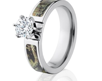Mossy Oak Break Up Infinity Camo Rings, Camouflage Engagement Rings: BUI-6F14G1RCTW