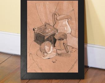 Coffe scene painting digital print