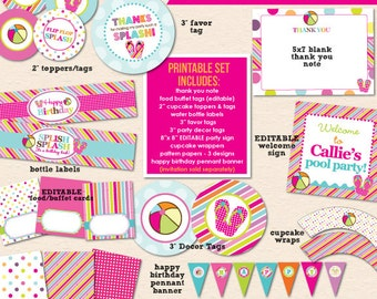 Color Splash Birthday Pool Party - DIY/Printable Complete Party Pack- Instant Download PDF File