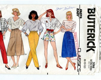 Vintage 80s Butterick 3068 Sewing Pattern Women's Shorts Skirt Pants Small Waist 24 to 26.5 Sizes 8 10 12