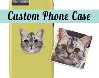 CUSTOM PHONE CASE | Send your photo | Custom Portrait | Choose Background Color | Dog Lover Gift | Gift | iPhone & Galaxy