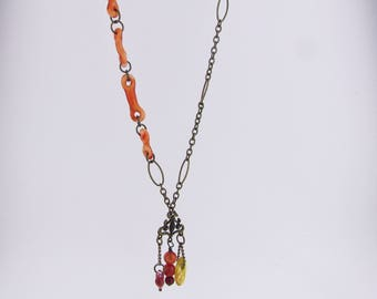 Fall Necklace, Bohemian Glass Jewelry, Handmade long necklace, Lampwork, Boro, Unique Jewelry, Hand Blown Glass Charm Necklace, Boho Jewelry