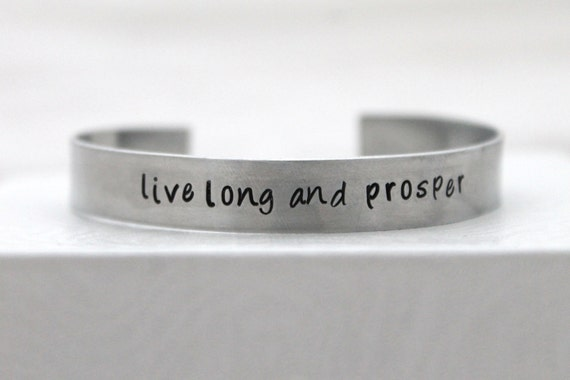 Live Long and Prosper Bracelet, Trekkie, Hand Stamped Bangle, Aluminum Jewelry