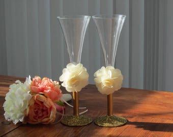 glassware, champagne handmade glasses, champagne flutes, golden anniversary, celebration glasses, toasting glassware, timelesspeony