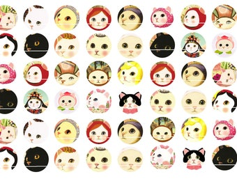 219 # 48 CAT images/designs for cute 12mm round cabochon
