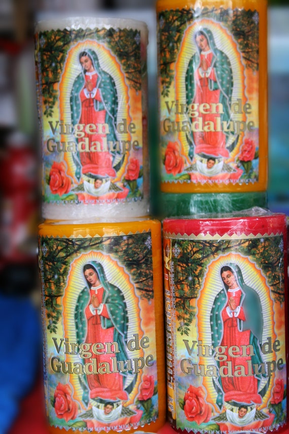 """Virgen de Guadalupe Candles (5"""" x 7"""" photographic greeting card - blank inside/with envelope)"""