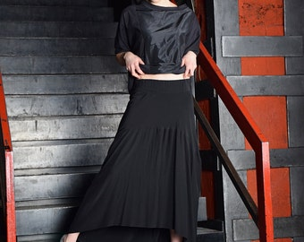 Maxi Skirt, long skirt, Black skirt, Floor length skirt, asymmetric skirt, Extravagant skirt, Black maxi skirt by UrbanMood -UM-086-VC