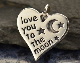 Love you to the Moon Heart 925 Sterling Silver Charm Pendant for Necklace Valentines Day Family Loved One Mom Best Friend