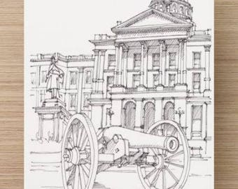 Ink Sketch of Capitol Building in Denver, Colorado - Drawing, Art, Pen and Ink, Architecture, Dome, Canon, 5x7, 8x10, Print