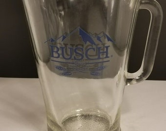 Large Busch Beer Clear 64oz Glass Pitcher Man Cave Barware